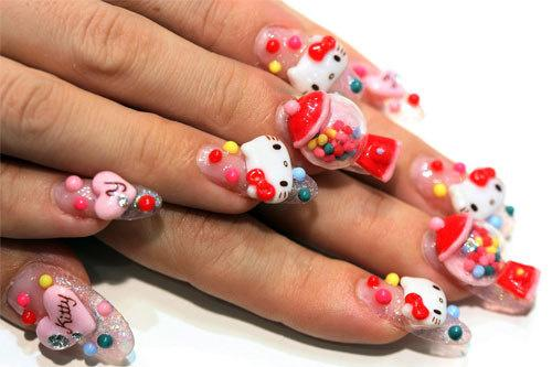 hello kitty nails. Hello kitty nails..I die!